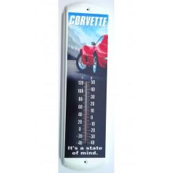 thermometre chevrolet corvette rouge tole metal deco garage