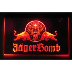 verre publicitaire neon JAGER BOMB rouge red bull deco bar