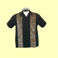 chemise rockabilly noir leopard chemisette homme 2xl