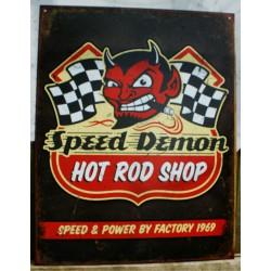 plaque hot rod shop speed demon diable tole publicitaire