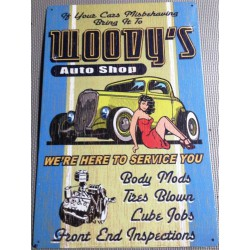 plaque woody's jaune pin up robe rouge tole publicitaire usa
