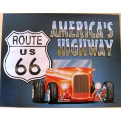 plaque hot rod orange america's highway tole publicitaire