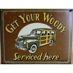 plaque woody service here tole publicitaire garage usa
