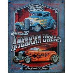 plaque hot rod american dream ford 32 tole publicitaire