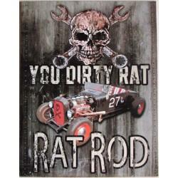 plaque rat rod crane pirate tete de mort tole publicitaire