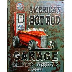 plaque hot rod american pompe essence tole publicitaire