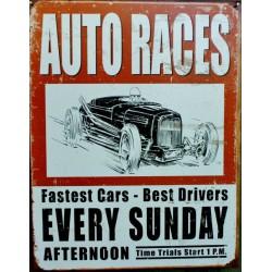 plaque hot rod auto races course drag tole publicitaire