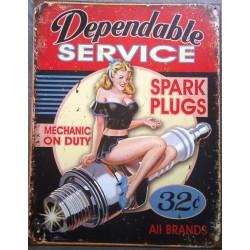 plaque pin up et bougie dependable service tole publicitaire