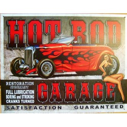 plaque hot rod garage orange flamme pin up tole publicitaire