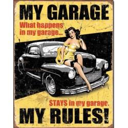 plaque hot rod noir pin up my garage rules tole publicitaire