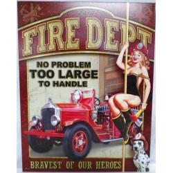plaque pompier pin up fire dept tole publicitaire usa 40cm