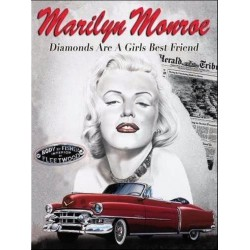 plaque marilyn monroe cadillac rouge tole deco pin up star