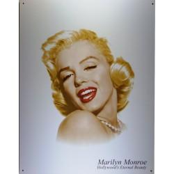 plaque marilyn monroe eternal beauty sur fond blanc tole pub