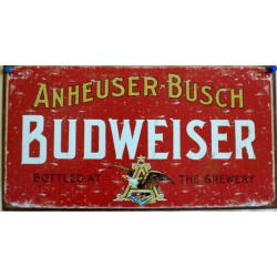 plaque budweiser tole rouge vieillit rect beer biere usa bar