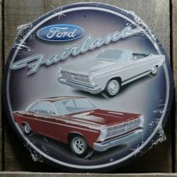 plaque ford fairlaine ronde cabriolet et coupé deco tole usa