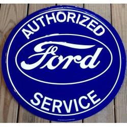 plaque ford authorized service ronde bleu tole deco garage