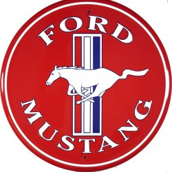 plaque ford mustang rouge tole ronde deco garage loft usa