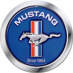 plaque ford mustang bleu since 1964 tole ronde deco usa loft