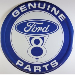 plaque ford V8 parts bleu genuine parts deco tole metal usa