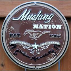 plaque ford mustang marron est 1964 tole deco garage loft