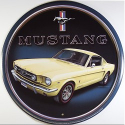 plaque ford mustang beige ronde deco voiture americaine