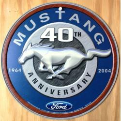 plaque ford mustang 40 th ronde deco garage loft diner pub