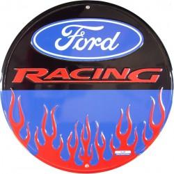 plaque ford racing bleu flammes tole ronde deco garage loft