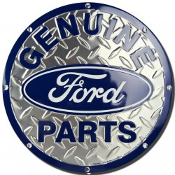 plaque ford parts alu strié ronde deco garage loft diner usa