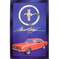 plaque ford mustang rouge sur fond bleu deco tole garage