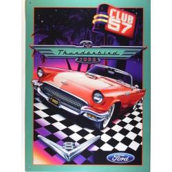 plaque ford thunderbird damier club 57 deco garage loft usa
