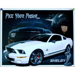 plaque ford mustang shelby blanche pick your poison tole usa