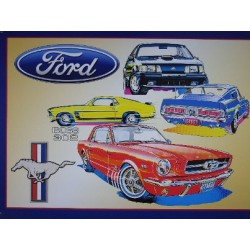 plaque ford mustang dessin boss 302 tole deco garage