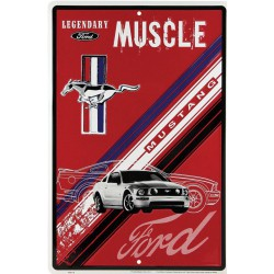 plaque ford mustang muscle rouge tole deco garage loft usa