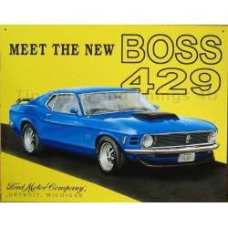 plaque ford mustang boss 429 bleu  tole publicitaire métal