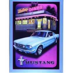 plaque ford mustang devant un diner americain tole affiche