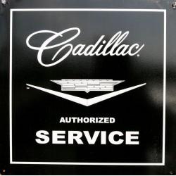 plaque cadillac service noir carré tole deco garage loft usa