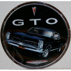 plaque pontiac gto noir ronde tole deco garage affiche metal