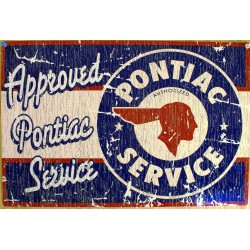 plaque pontiac viellit rectangulaire tole pub garage diner