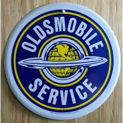 plaque oldsmobile ronde bleu logo tole pub affiche usa  loft