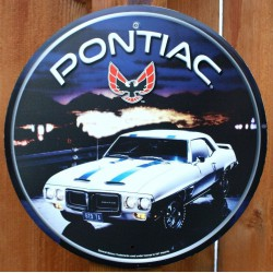 plaque pontiac firebird ronde voiture blanche bande bleu
