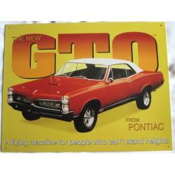 plaque pontiac gto jaune tole pub affiche déco garage metal