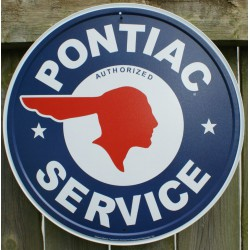 plaque pontiac service ronde bleu tole deco garage usa loft