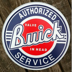 plaque buick ronde authorized service tole deco garage usa