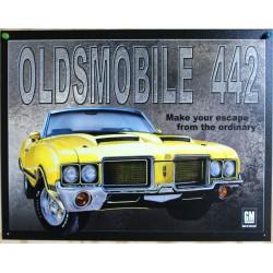 plaque oldsmobile 442 cabriolet jaune tole deco garage jusa