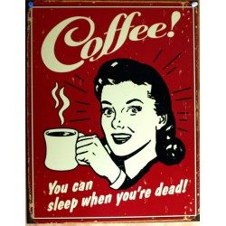 plaque coffee pin up you can sleep when you're dead rouge