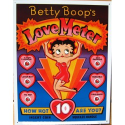 plaque betty boop robe rouge love meter tole deco pin up