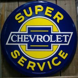 plaque chevrolet super service 60cm tole deco diner bar loft