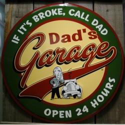 plaque dads garage 60cm deco pub metal tole affiche bar usa