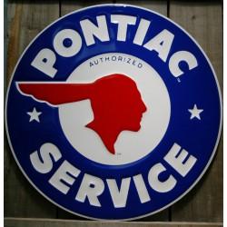 plaque pontiac service  bleu 60cm tole deco metal affiche us