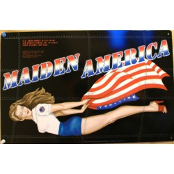 plaque pin up maiden america tole affiche metal bombardier